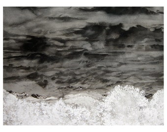 Watercolor Clouds Painting- Gray, Black, White- Unafraid- Stormy Sky- Boulder Colorado- 12x16