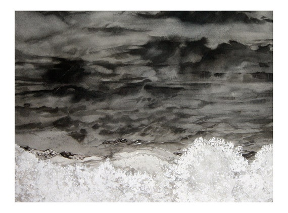 Watercolor Clouds Painting- Gray, Black, White- Unafraid- Stormy Sky- Boulder Colorado- 12x16- Horizontal
