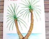 X-Small Fingerprint Palm Tree, Beach Wedding Guest book, Hand painted, includes 2 ink pads and pen