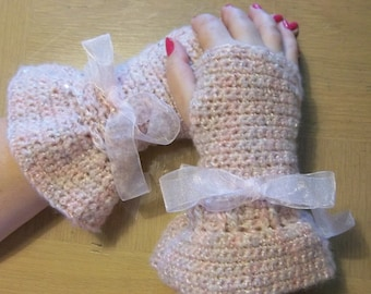 Gloves - Crochet Fingerless Gloves with Matching Scarflette - Pink with Glitter
