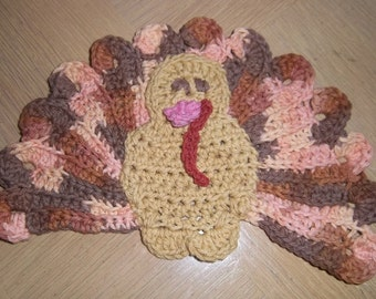Potholder - Crochet Potholder for Thanksgiving  - Turkey Potholder - Table Decoration