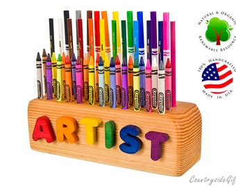 Crayon, Pencil, Marker Holder - Natural & Organic Wooden 24ct Crayon, 10ct Marker and 12ct Pencil Holder