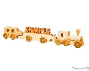 Wooden Train - Personalized Name Train with Your Name Cutout in Hardwood - Handmade - Makes a Great Gift