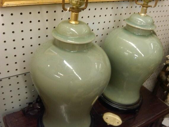 Reserved Vintage Ginger Jar Lamp Pair Ceramic Hollywood