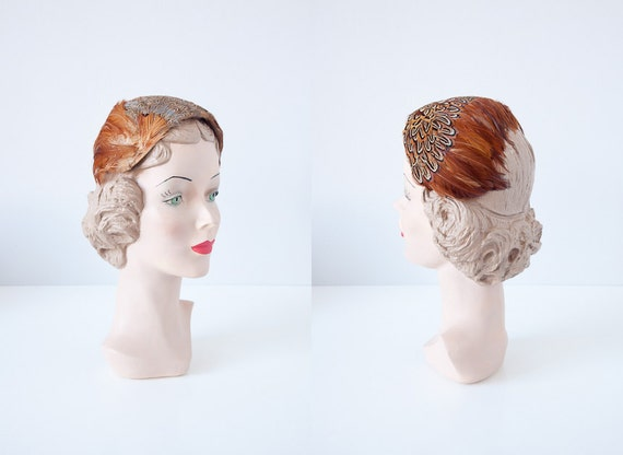 vintage feather hat / vintage 1950s hat / vintage 50s feather hat band / pheasant feathers