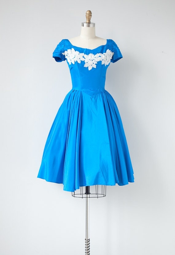 vintage 1950s dress / vintage 50s party dress / vintage lace detailed royal blue silk 50s dress