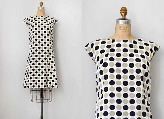 vintage 1960s polka dot shift dress