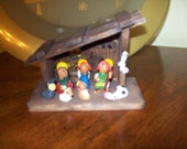 Miniature Vintage Wooden Creche With Clay Figures Manger Scene