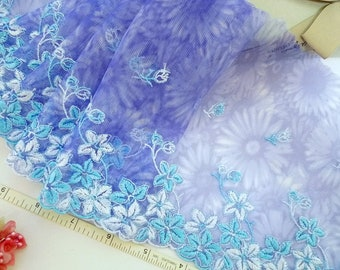 Lace trim, Embroidered lace, Floral lace, Blue lace, Tulle lace, 2 yards PT052