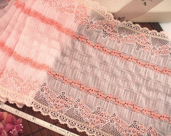 Elastic lace, Stretch lace, Embroidered lace, Pink lace, Ruffled lace,  2 yards S9