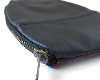 Small Zipper Purse in Rich Wine and Black Recycled Vintage Leather ... Perfect Little Pouch