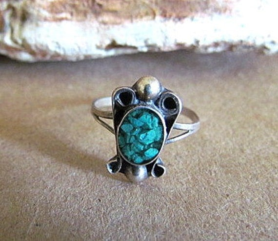 Vintage Sterling Silver Turquoise Chip Ring Size 5