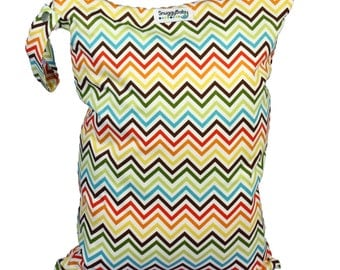 LARGE Wet Bag for Cloth Diapers, Wet Swimsuits and More - Rainbow Chevron - FAST SHIPPING