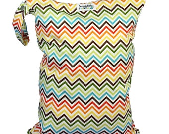 LARGE Wet Bag with Zipper and Waterproof Lining - Rainbow Chevron - FAST SHIPPING