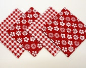 Red Quilted Coasters Set Reversible  Red Fabrics  by SEW FUN QUILTS