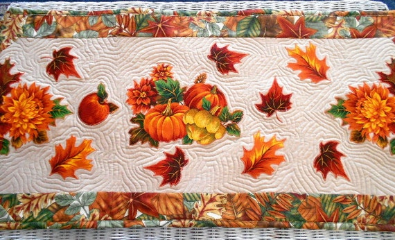Fall Harvest Table Runner Quilt, Pumpkins, Autumn Leaves by Sew Fun Quilts