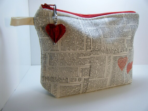 Black Hand Stamped Muslin Newsprint Heart Cosmetic Travel Makeup Bag