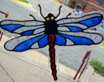 Two Dragonfly's stained glass window clings