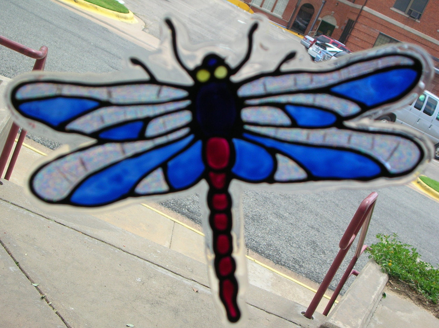 two dragonfly 39 s stained glass window clings. Black Bedroom Furniture Sets. Home Design Ideas