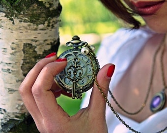 Time Machine Locket Watch Necklace