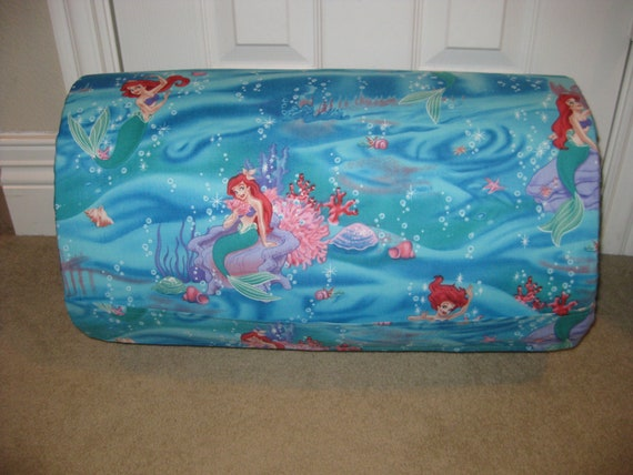 MONOGRAMMED Childrens Pre School Mothers Day Out THICK and COMFY Nap Mat Disney Little Mermaid  with Attached Blanket and Pillow