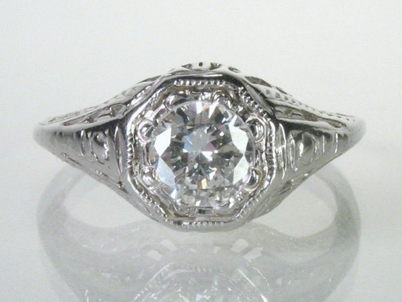 Reserved for Brian - Old European Cut Diamond Engagement Ring - 0.47 Carat - Appraisal Included