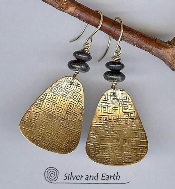 Gold Brass Earrings w- Hand Stamped Greek Key Pattern and Jasper Stones  - Artisan Metalwork Earrings - Modern Fall Fashion Jewelry