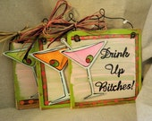 Martini glass hand painted wooden sign Drink up