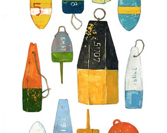 Lobster Buoys Watercolor Painting- Colorful Nautical Print