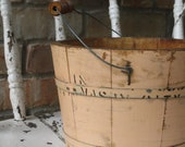 RESERVED FOR SYLVIA - Antique Wood Firkin Bucket with Peachy Pink Paint