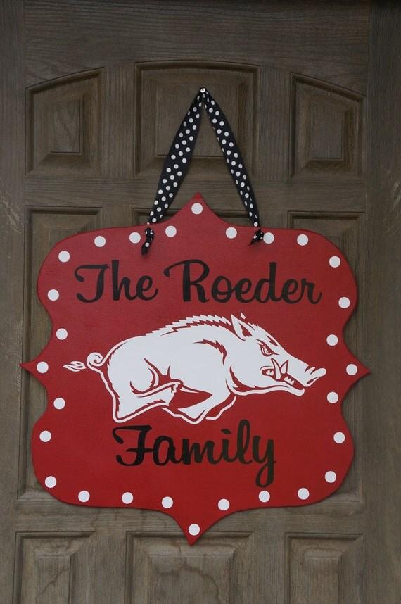 Offically Licensed Collegiate Custom Arkansas Razorback Door Hanger