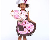 Children's apron, chef hat and crochet cupcake gift set
