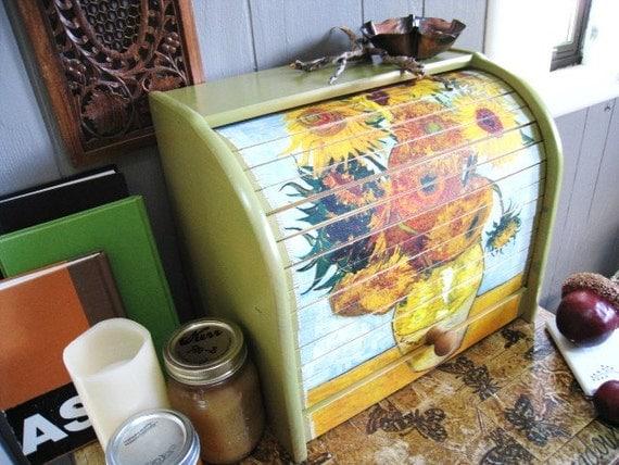 Van Gough Sunflowers Roll Top Bread Box Kitchen Decor