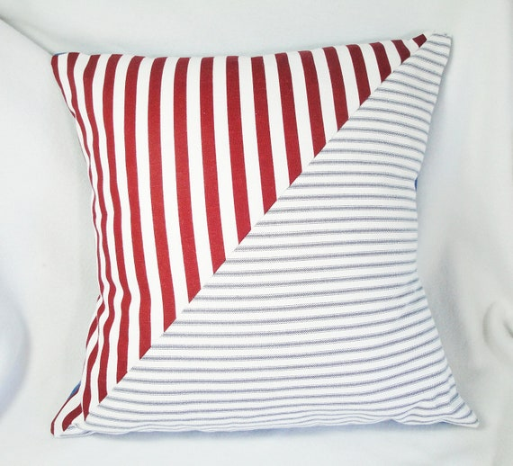 Pillow cover stripes red, white, blue, unique Nautical house decor, burgundy 18 inches, envelope back