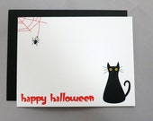 Black Cat Halloween A2 Flat Note Cards (Set of 10)