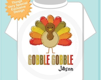 Boys Gobble Gobble Thanksgiving Turkey Personalized Shirt or Onesie (10152012b)
