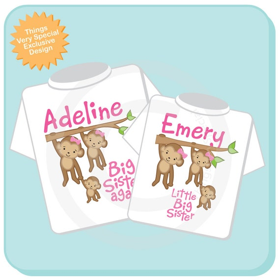 Big Sister Again and Little Big Sister Shirt set of 2, Sibling Shirt, Personalized Tshirt with Cute Monkeys (07122012b)
