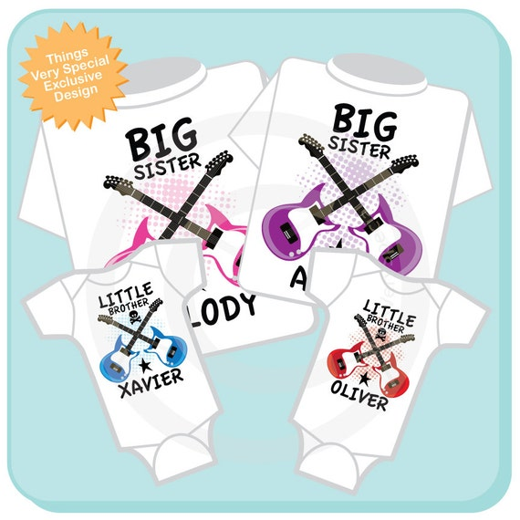Set of Four Personalized Big Sister and Twin Little Brother Guitar Rocker Shirts or Onesies, Infant, Toddler or Youth sizes t-shirt