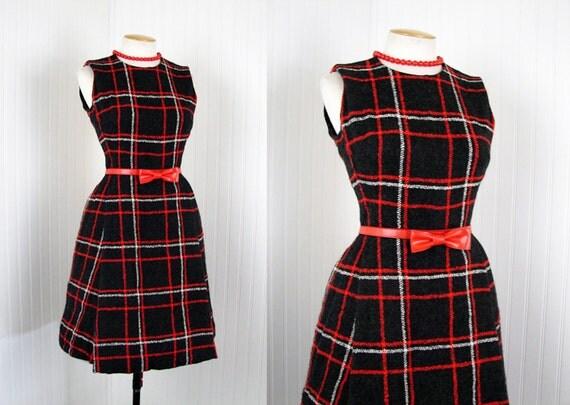 1960s dress - vintage 60s black red plaid wool mad men designer mod sheath dress M - Tomorrow and Tomorrow