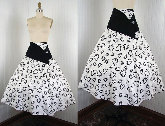 1980s 1950s Skirt - Vintage Novelty Skirt Black White Atomic Print Cotton Avant Garde Wrap Skirt L - Heart of Glass