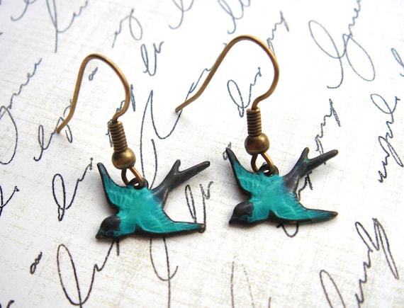 Simple. Sweet. Petite Sparrow Bird - Earrings - Antiqued Brass Charms