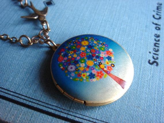 A Little Birdie Told Me - Locket, Necklace, Antiqued Brass Chain - Vintage-Inspired Sparrow Keepsake Jewelry
