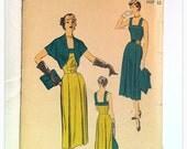1940s vintage unprinted Advance 5693 sewing pattern, dress & bolero, size 12, bust 30