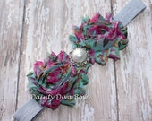 Mint and Pink Floral Print Shabby Flower on Gray Foldover Elastic Headband, Baby Headband, Newborn Headband, Toddler Headband, Photo Prop