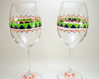 Tribal pattern geometric shapes, hand painted wine glasses, painted glassware, set of 2 Ready to Ship