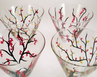 Hand painted stemless martini glasses - Fall collection winter berries and Autumn leaves - painted martini glasses - set of 4