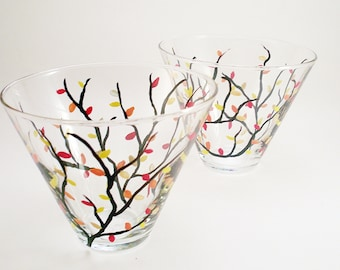 Hand painted stemless martini glasses - Fall leaves - set of 2