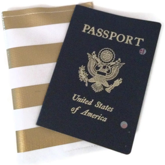 Metallic Gold and White Nautical Stripe Passport Cover  w/ FREE US Priority Shipping