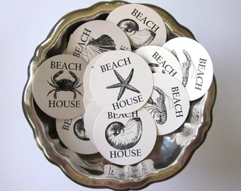 Beach House Tags Round Gift Tags Set of 10 Crab, Lobster, Starfish, Clam, Shell