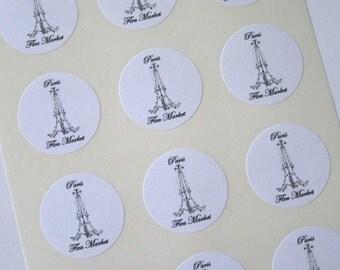 Chandelier Paris Flea Market Stickers One Inch Round Seals